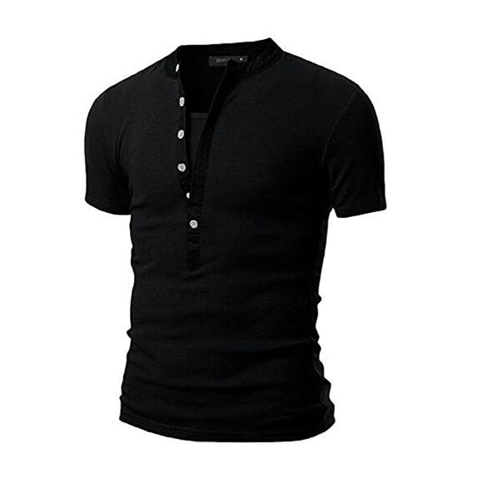 Ärmel Knopf mit Fit Herren Slim Kurze einfarbige Poloshirts Hemd vmN08nwO