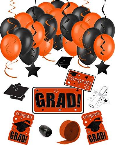 Congrats Grad 38pc Decoration Graduation Pack - School Colors Orange Black (Black And Orange Party Decorations)