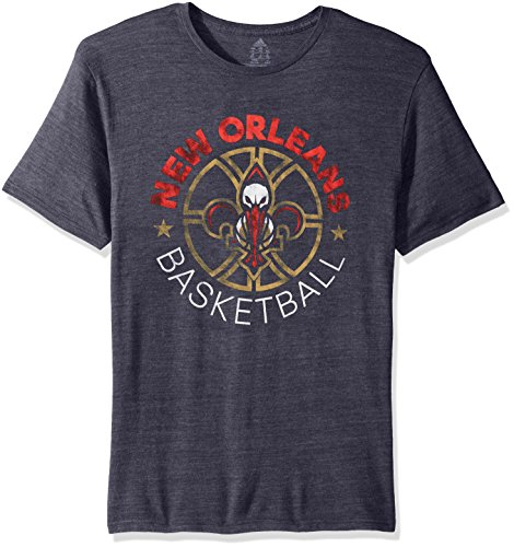 fan products of NBA New Orleans Pelicans Men's Double Dribble Tri-Blend Short Sleeve Tee, Navy, Large