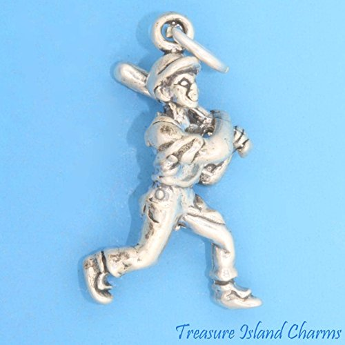(Baseball Batter Hitter Player 3D .925 Solid Sterling Silver Charm Ideal Gifts, Pendant, Charms, DIY Crafting, Gift Set from Heart by Wholesale Charms)