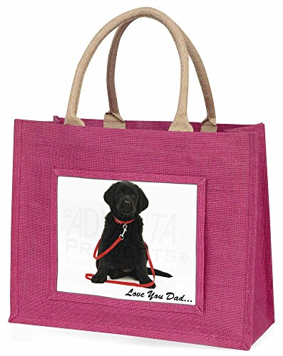 Advanta Goldador Hund, Love You Dad Große Einkaufstasche Weihnachten Geschenk Idee, Jute, Rosa, 42x 34,5x 2cm