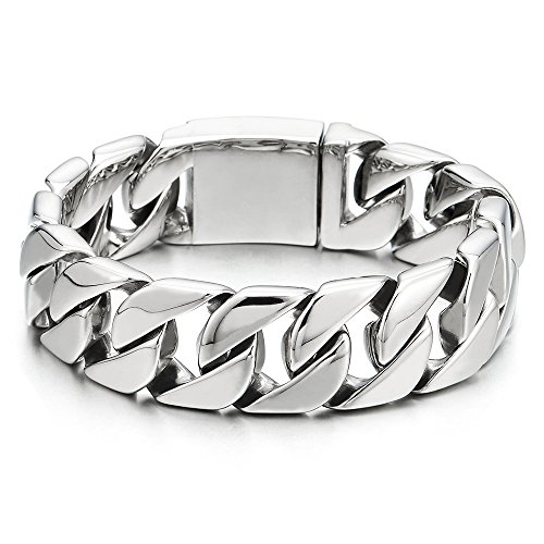 - COOLSTEELANDBEYOND Masculine Mens Stainless Steel Large Link Curb Chain Bracelet, Polished