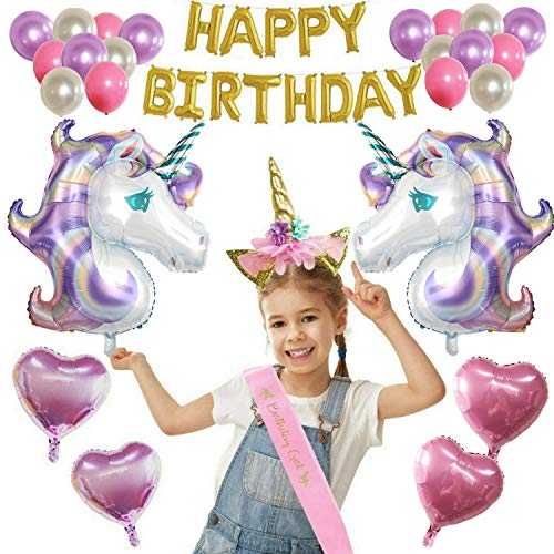Woola Boutique Unicorn Birthday Party Supplies Balloons Set for Girls Gold Letters Foil Banner, Unicorn Horn Headband, Pink Sash - for Decorations, Photo Background or Props - for Kids and Adults