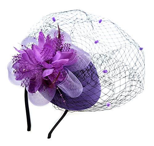 Fascinator Hats Pillbox Hat British Bowler Hat Flower Veil Wedding Hat Tea Party Hat (Purple)
