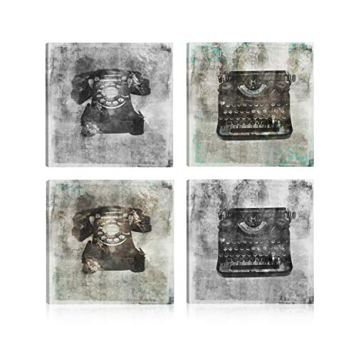[해외]Art Maison Canada JSH073S41212 Vintage Typewriter and Telephone Giclee Gallery Wrapped Canvas Wall Art|Modern Decor for Home and Office | Ready to Hang |Set of 4(12x12INCH) Blue Gray Black / Art Maison Canada JSH073S41212 Vintage T...