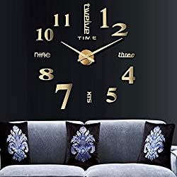 CUGBO DIY Wall Clock Modern Large 3D Wall Clock Mirror Stickers Home Office Decor,Gold