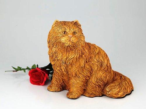 Longhair Orange Cat Cremation Pet Urn for secure installation of your beloved pet's ashes indoors or outdoors by Longhair Orange Cat Urn