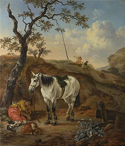 Perfect Effect Canvas ,the Vivid Art Decorative Canvas Prints Of Oil Painting 'Pieter Verbeeck A White Horse Standing By A Sleeping Man ', 16 X 19 Inch / 41 X 47 Cm Is Best For Laundry Room Artwork And Home (Standing Horse Bookends)