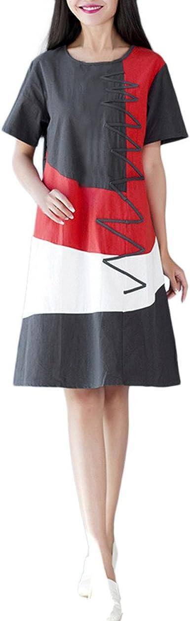 Conquro-vestidos de Manga Corta Que combina el Color del algodón y ...