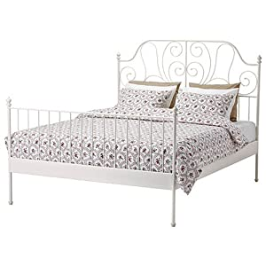 ikea leirvik bed frame white full size iron metal country style
