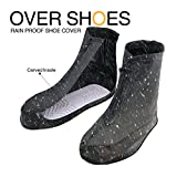 Waterproof Rain Snow Boots Non-Slip Shoes Covers Over Shoes Galoshes Gear Reusable Traveling Cycling Hiking Camping Fishing Outdoor Garden Car Bus School Office Women Men - Black, XXXXL