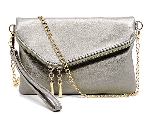 Elphis Fashion Evening Envelope Fold Over Clutch Wristlet Purse Cross Body Bag (023-Light Pewter) by Elphis