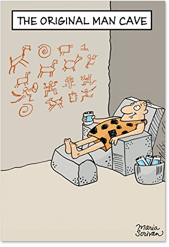 0259 Original Man Cave : Funny Father's Day Card Depicting a Stone Age Caveman Lounging Around, with Envelope. -