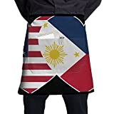 Unique Philippines USA Flag Twin Heart Chef Aprons Customized Half Body Waist Aprons Sewing Pocket For Pub