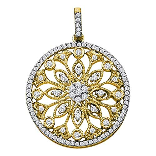 Womens Round Diamond Antique-style Circle Pendant 1/2-Carat tw, in 10K Yellow Gold from Roy Rose Jewelry