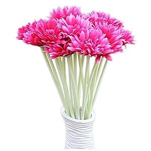 Artificial Flower Gerbera - TOOGOO(R) 10 PCS Artificial Silk Gerbera Daisy Flower Wedding Party Home Bridal Bouquet Rose Red 75