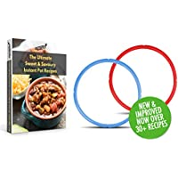 Instant Pot Sealing Ring Gasket, Sweet and Savory Edition, Red and Blue 2 gasket pack for 5 or 6 Quart - Includes Instapot Sweet & Savoury Cookbook Download with over 30+ Recipes