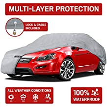 """Motor Trend 4-Layer 4-Season (Waterproof Outdoor UV Protection for Heavy Duty Use Full Cover for Cars up to 210"""")"""