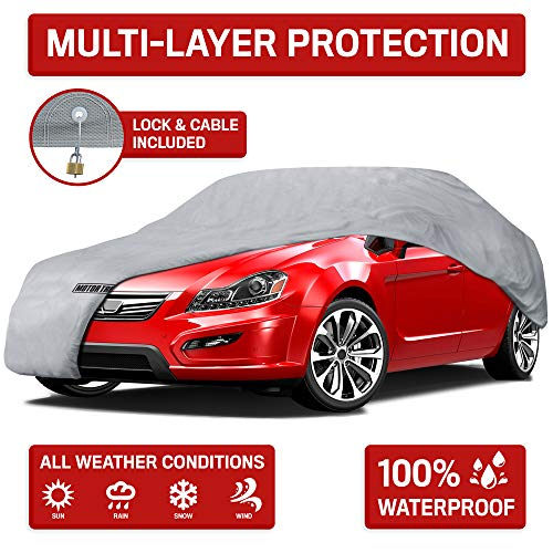 (Motor Trend 4-Layer 4-Season (Waterproof Outdoor UV Protection for Heavy Duty Use Full Cover for Cars up to 210