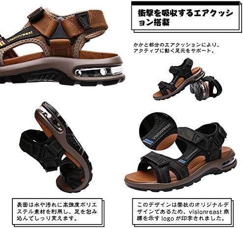 [Visionreast] メンズ スポーツサンダル エアクッション アウトドア サンダル 革 厚底 歩きやすい 牛革サンダル オフィス かかとあり ビーチサンダル ベルクロ 夏 職場 マジック式 24cm-28cm
