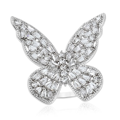 Platinum Plated Silver Butterfly Gift Ring For Women Made with SWAROVSKI ZIRCONIA 9 cttw Size (Swarovski Butterfly Ring)