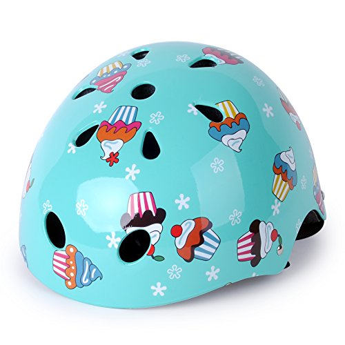 WIN.MAX WinMax Multi-sport Skateboarding Skating & Cycling Safety Bike Helmet for Kids (Robin Egg Blue, with Pattern, S)