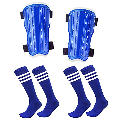AnjeeIOT Shin Guards for Kids Soccer Shin Pad Protective Gear Football Guard Board Equipment Fit 5-10 Years Old Boys Girls (Blue)