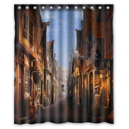 Unique And Generic Potter Diagon Alley Shower Curtain Custom Printed Waterproof Fabric Polyester Bath 60quot