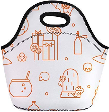Vontuxe Insulated Lunch Tote Bag Halloween Festive Pumpkin Candy Hat of Witch Cauldron Magic Outdoor Picnic Food Handbag Lunch Box for Men Women Children ()