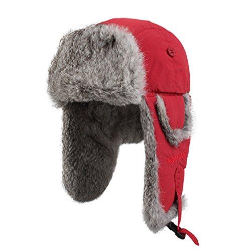 Kenmont femmes hiver chaud lapin de ski extérieure Rouge Naturel Fourrure Aviator chapeau chapeau Bomber