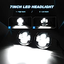 Nilight 20013H 7 Inch LED Headlight with 4 Inch LE