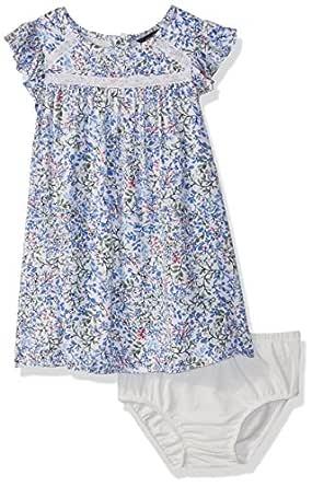 Nautica Baby Girls Short Sleeve Fashion Dress, Cream Florals, 12M
