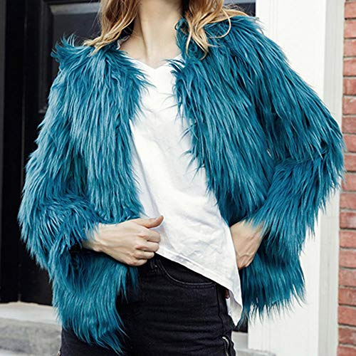 Jumper Coat Imitation Winter Jacket Overcoat Solid Color Cardigan Parka Blue vpass Turf High Women's Casual Grade OBwnqz8