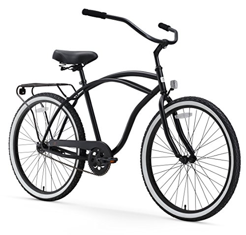 sixthreezero Around The Block Men's Single Speed Cruiser Bicycle, Matte Black w/ Black Seat/Grips, 26