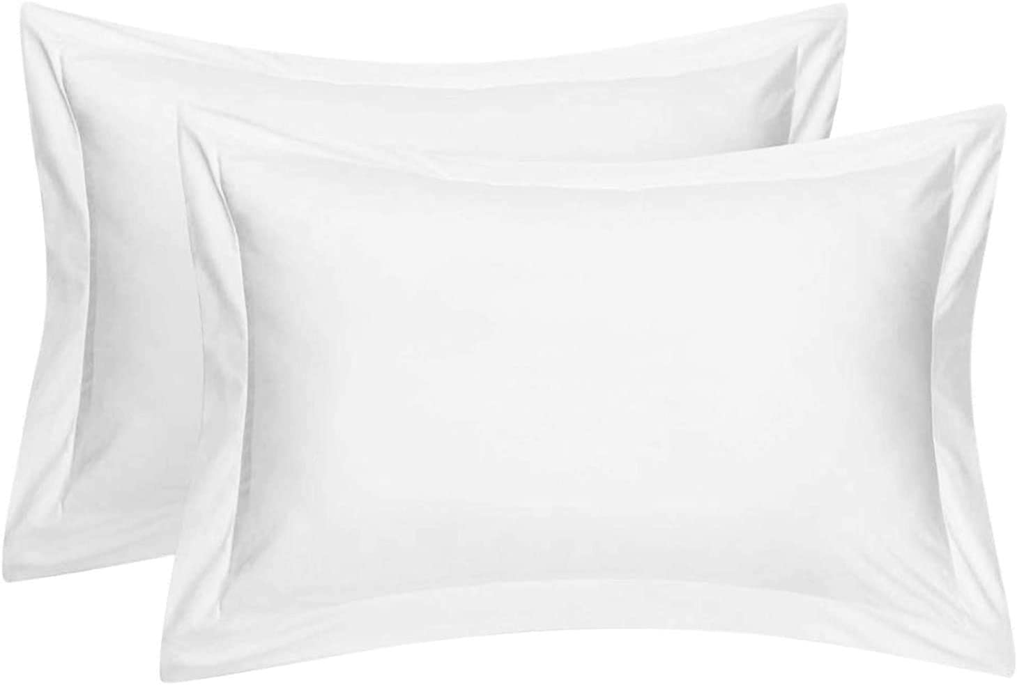 Cotton Metrics Heavy Quality King Pillow Shams Set of 2 White 600TC 100% Organic Cotton White Pillow Shams King Size 20X40 Decorative Pillow Cover with 2 Inch Flang
