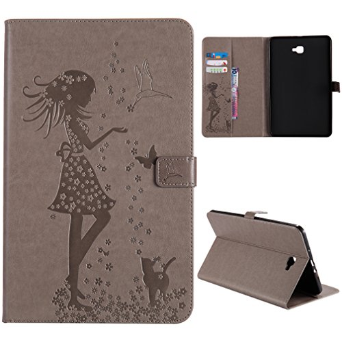 Galaxy Tab A 10.1 Case - Senlon Slim Fit Premium PU Leather Flip Stand Cover with Auto Sleep/Wake for Samsung Galaxy Tab A 10.1 Inch (NO S Pen Version SM-T580/T585/T587) Tablet+Stylus - Gravity Silver Pen