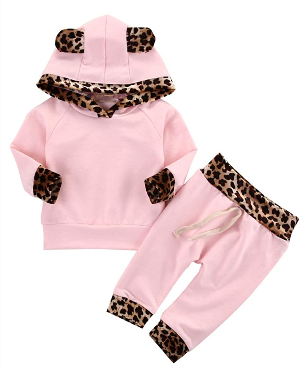 Toddler Infant Newborn Baby Kids Leopard Print Hoodie Long Sleeve Tops+Long Pants Outfits Set Girls Boys Clothing Sets