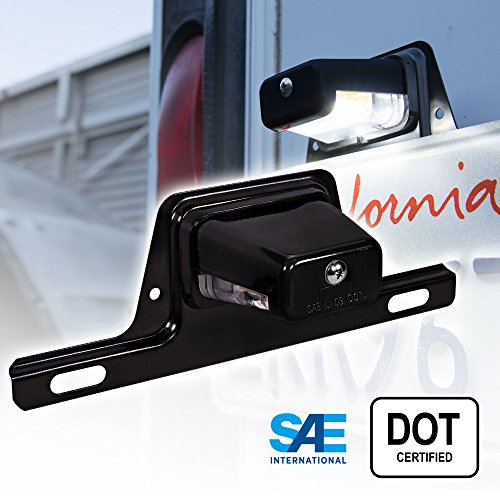 LED Trailer License Plate Lights w/Bracket [SAE/DOT Certified] [Waterproof] [Heavy Duty] License Tag Lights for Trailers, RV, Trucks & Boats - Black Housing