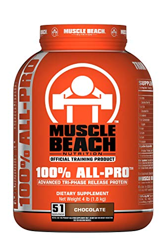 Muscle Beach Nutrition 100% All-Pro Advanced Tri-Phase Release Protein (Chocolate, 4lb) Whey Protein Isolate, Micellar Casein, Whey Protein Concentrate