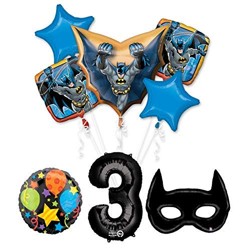 Mayflower Products Batman 3rd Birthday Party Supplies and Bat Mask Balloon Bouquet Decoration -