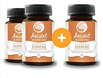 Highest Potency Turmeric (Curcumin) - 90 Tablets - 500mg - 95% Curcumin C3 Complex + 5% Black Pepper (BioPerene) - Best Anti-inflammatory Supplement Herb - 3 Pack - by Ancient Health Care