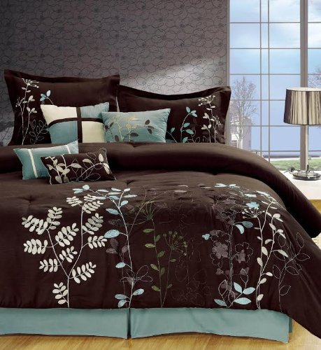 Legacy Decor 7-pcs Embroidered Microfiber Comforter Set Brown, Aqua, Green, White Queen Size - Flower Burst Comforter