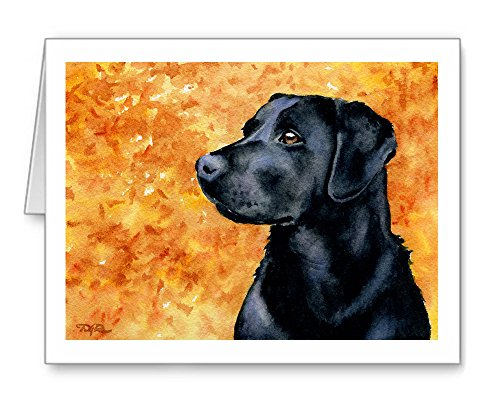 Black Lab - Set of 10 Note Cards With Envelopes by DJ Rogers Fine Art