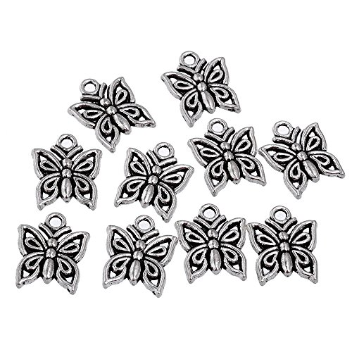 RUBYCA 30PCS Charm Pendant Butterfly 2 Tibetan Metal Beads Silver Color Jewelry Making DIY Bracelet