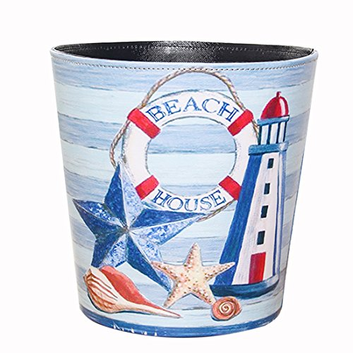 HMANE Trash Can, British Style Trash Bin Household Uncovered Garbage Can Decoration(Sea Pattern) - Pattern-16