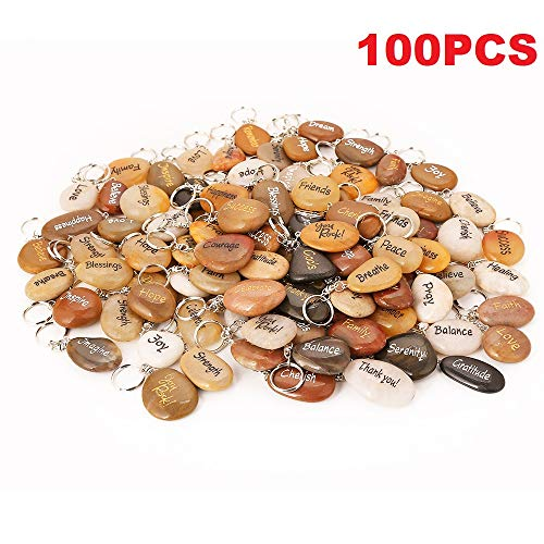 100PCS RockImpact Inspirational Stones Key Chains, Wholesale Lot, Engraved Natural River Rock Key Rings Keychains, Healing Stone Keychain Bulk Lot, Different Words Assorted Sayings (100 Pieces) -