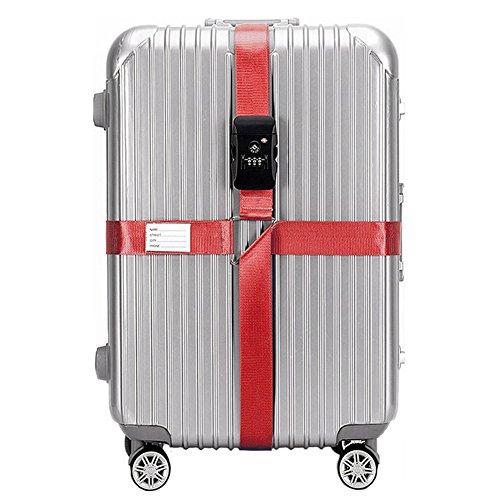 BlueCosto Red TSA Approved Lock Luggage Straps Suitcase Cross Belts Heavy Duty