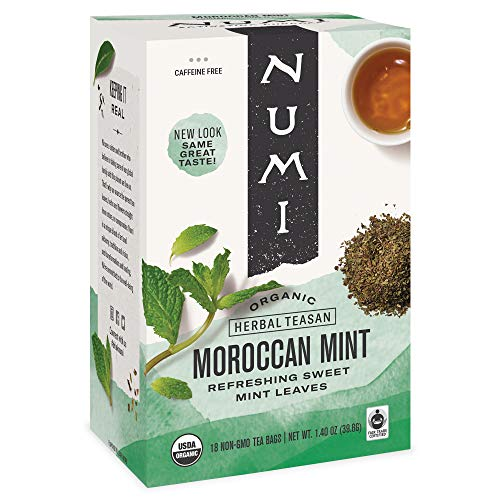 Numi Organic Tea Moroccan Mint, 18 Count Box of Tea Bags, Herbal Teasan