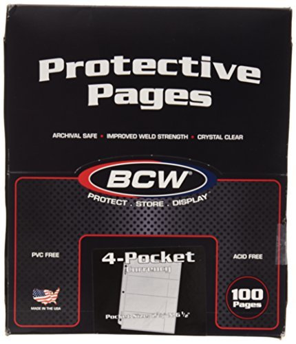 100 4-Pocket Currency Pages 2.75 x 6.5 BCW NEW by BCW