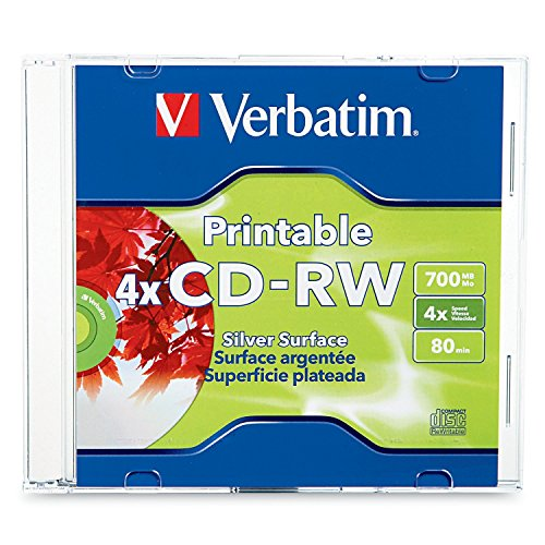 (Verbatim CD-RW 700MB 2X-4X DataLifePlus Silver Inkjet Printable with Branded Hub - 1pk Jewel Case)